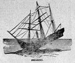 Sketch drawn of HMS Birkenhead showing how she broke up before sinking.