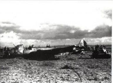The Ju88 in the field at Bromborough