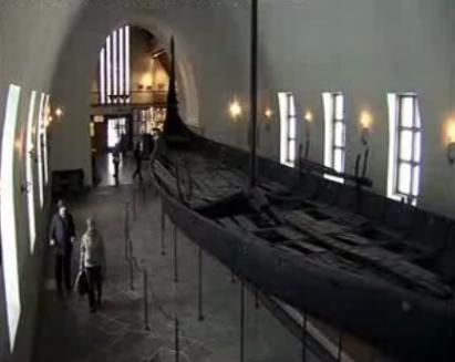 The remains of a Viking Boat in a Museum